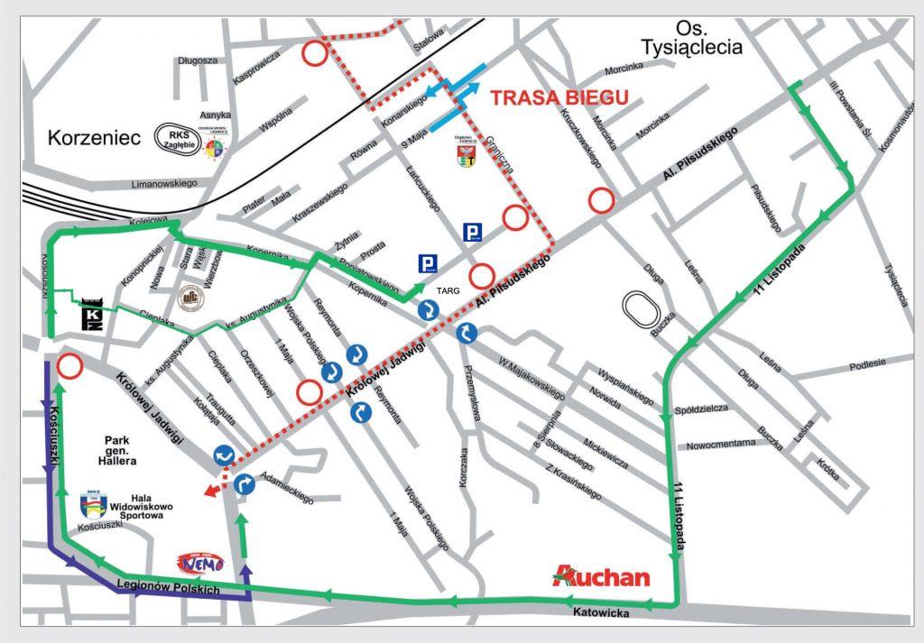 Mapa objazdów do Targowiska